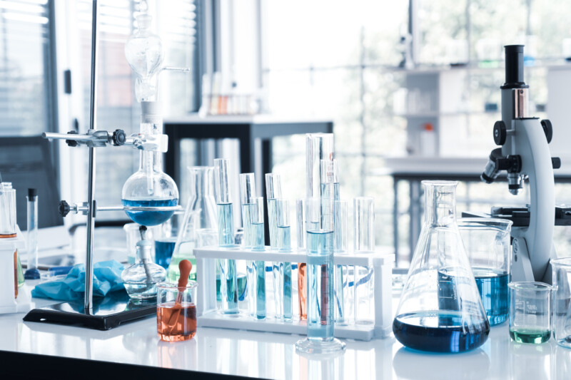 Science Instruments in laboratory room. Science Research Concept