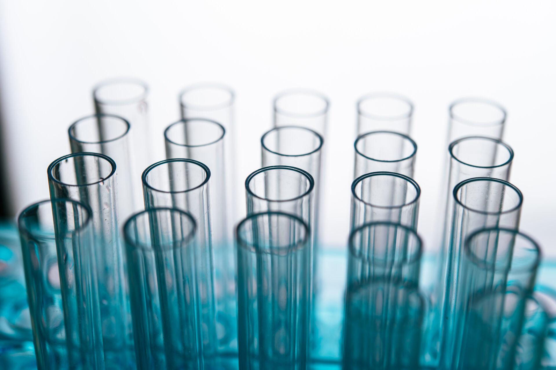 Science tubes arranged on the shelf.